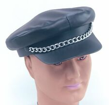 Biker Village People YMCA 70s Black Punk Hat Fancy Dress Costume Adult NEW P812
