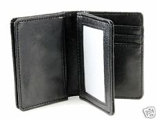 New Mens Bifold Leather ID Wallet Black Multi Pocket Credit Card Slot Window C18