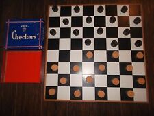 Vintage HANDMADE WOODEN GAME BOARD Black & White W/ Checkerboard Top & Checkers