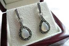 925 STERLING SILVER MOTHER OF PEARL MARCASITE TEARDROP EARRINGS
