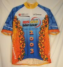 Vomax Men's XL Cycling Shirt Jersey Bay to Bay MS Bike Tour 2003 Blue Orange