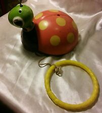 Vintage Cragstan Ladybug Plastic Dog Pull Toy, British Hong Kong