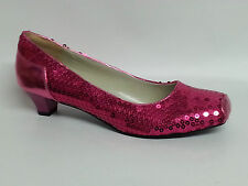 Women's Ladies Low Heel Sequin Shoes - Pink Gold Silver Black Blue Sizes UK 3-8