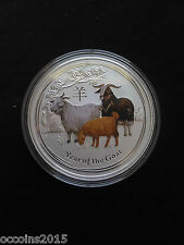 2015 2oz .999 Fine Silver Australian Year Of The Goat Colored Coin- 3439 mintage