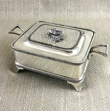 Antique Victorian Silver Plated Butter Dish Covered Conch Shell Walker Hall Vtg