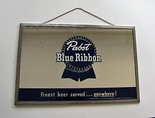 "Vintage Pabst Blue Ribbon Beer Mirror Advertising Sign 18"" x 12"" - BEECO Chicago"
