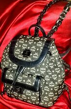 MCM BACKPACK Black LOGO Jacquard & Leather VINTAGE Michael Cromer Munchen Era