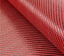 "CARBON FIBER/RED KEVLAR CLOTH FABRIC 2X2 TWILL 50"" 3K 5.5OZ"