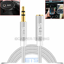 ®ETS 1M 3.5mm Jack AUX Audio Cable Male To Female Extension PC Laptop iPod Lead