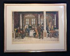 W. Peters après KARI: Antique Gravure colorée Banco- et Bureau de change À 1650