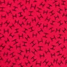 100% REAL HERMES TIE ~ SLIGHTLY DARKER CHERRY RED w/ BLUE SMALL MINIATURE Hs XL