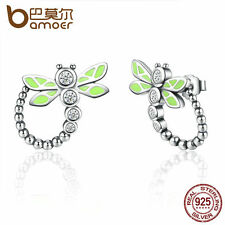 Bamoer Animal S925 Sterling Silver Earring dragonfly Dangler For Women Christmas