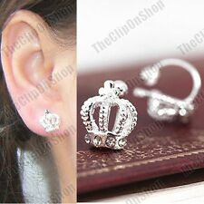 U CLIP ON CROWN small EARRINGS fake studs SILVER FASHION crystal rhinestone