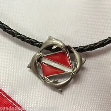 "Dolphin dive flag 18"" necklace pewter scuba diving gifts surfing novelty scuba"