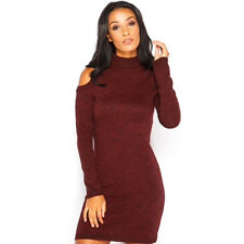 Women's Ladies Chunky Knit Open Cold Shoulder Bodycon Jumper Mini Dress Sweater