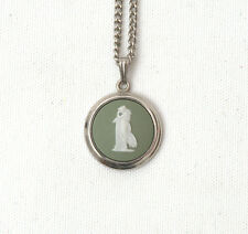 Vintage Wedgwood Pendant & Necklace With Green Jasperware Cameo