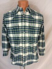 Vintage Wrangler Western Shirt Cowboy Rodeo Pearl Snap Plaid Cotton Size Medium