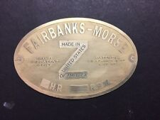 NEW Fairbanks Morse Z Etched Brass Tag Antique  Gas Engine Hit Miss