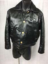 VTG Dayton Ohio Motorcycle Cop Black Leather Jacket w/ Booking Slip & Photo sz44