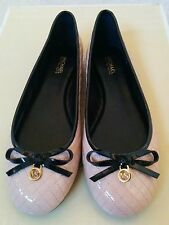 Size 8 M MICHAEL KORS Quilted Ballet Cream Light Blush Pink Patent Leather Flats
