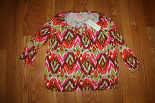 NWT Womens Jones New York Red Orange Green Multicolored Peasant Shirt Size L