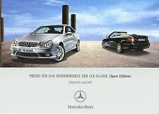 MERCEDES CLK sport Edition liste de prix 10.4.07 2007 coupé cabriolet prix prices