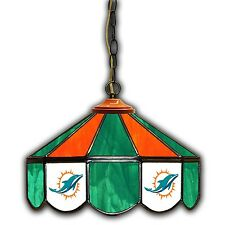 "NFL OFFICIALLY LICENSED Miami Dolphins 14"" Poker Swag Pub Stained Glass Light"