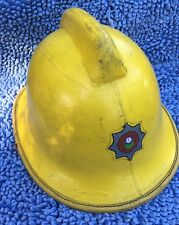 Vintage British Firefighters Leather Helmet South Yorkshire  Brigade England