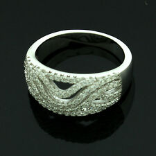 Sterling Silver Cubic Zirconia Micro Pave Set Ring Size O