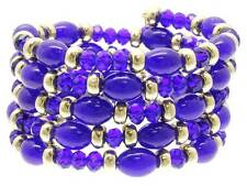 Navy Blue Glass Bead Gold Tone Bead Spring Coil Bangle Bracelet
