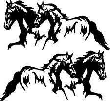 "2 Running Horses Vinyl Decal Stickers Horse Trailer Truck 10x20"" Set of 2"