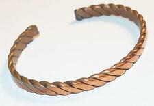 VINTAGE RETRO SOLID COPPER FLAT TWISTED ROPE DESIGN CUFF BRACELET