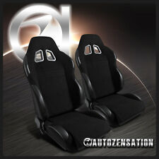 [2pcs] RH+LH Reclinable Bucket Racing Seats Black Cloth Leather w/ Slider