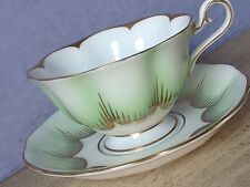 Vintage Royal Albert Bone China green white and gold Tea Cup, English teacup