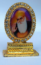 Gold Plated Desktop Car Dashboard Mantle Piece Sikh Khalsa Guru Nanak Stand Gift