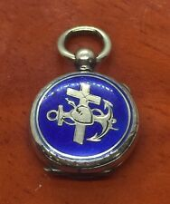 Vintage Antique Victorian Blue Enamel Anchor Locket Pendent Charm