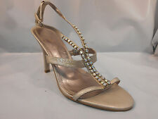 Nine West Light Metallic Brown Strappy Heels w/ Large Jewels Women's Size 10 M