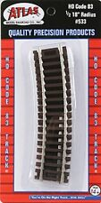 """Atlas #533 1/2 Section of 18"""" Radius Curve Track (4-pack)  HO - Code 83 Rails"""