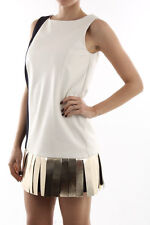 DROMe Real Leather Shift Dress Size S/M Rrp $1531 Made in Italy UNIQUE