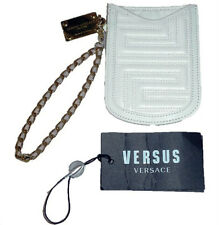 NEW VERSACE ITALY QUILTED LEATHER GOLD Bar Phone Pouch Wallet Retail $423