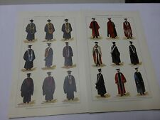 Illustrated Ephemera 2 Colored Plates on Academic Gowns - from 1903 Encyclopedia