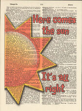 Beatles Here Comes the Sun Altered Art Print Upcycled Vintage Dictionary Page