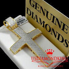 MEN LADIES REAL GENUINE DIAMOND 14K YELLOW GOLD FINISH JESUS CROSS CHARM PENDANT