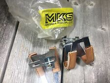 MKS HALF TOE-CLIPS WITH LEATHER TOE CLIPS VINTAGE BIKE BICYCLE TOECLIPS TOECLIP