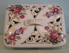 Shabby Vintage Chic Thames Japan Footed Trinket Box Pierced Lid Rose Design EUC