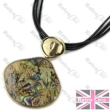 RRP$24 BIG paua ABALONE SHELL pendant NECKLACE black leather GOLD PLATED boho