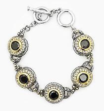 GORGEOUS Designer Silver Gold BALINESE Black Onyx CZ Crystal Links Bracelet