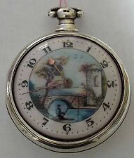 RARE LARGE SILVER PICTURED FISHING SCENE DIAL VERGE FUSEE  P/CASE WATCH WORKING