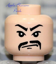 NEW Lego Male FLESH MINIFIG HEAD w/Black Moustache -Indiana Jones Asian Gangster