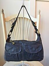FOSSIL MODERN CARGO Navy Blue Leather Shoulder Bag Handbag Hobo Tote
